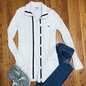 Lacoste Cream Long Button Up Cardigan-Medium/24